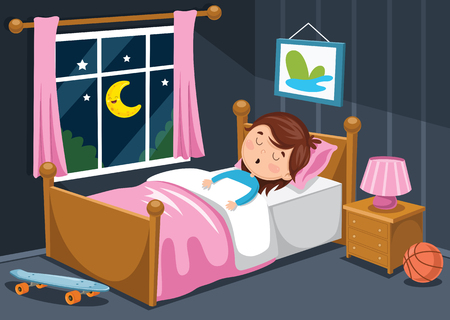 Illustrazione per A Vector Illustration Of Kid Sleeping - Immagini Royalty Free