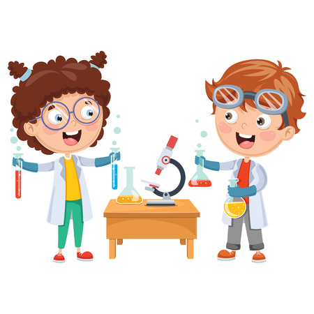 Illustration pour Vector Illustrations Of Kids Having Chemistry Lesson - image libre de droit