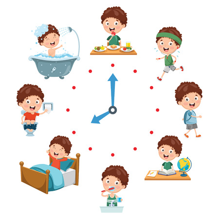 Illustration pour Vector Illustration Of Kids Daily Routine Activities - image libre de droit