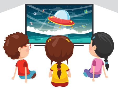 Ilustración de Vector Illustration Of Kids Watching Tv - Imagen libre de derechos