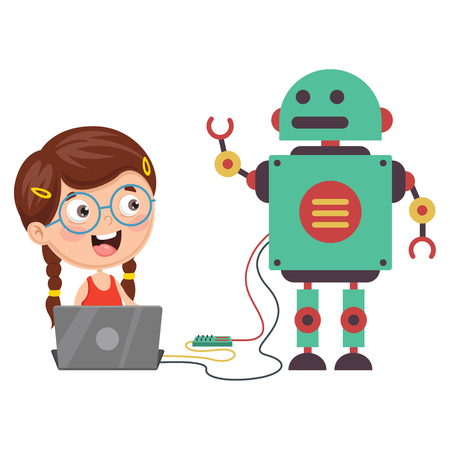 Illustration pour Vector Illustration Of a girl programming a robot - image libre de droit