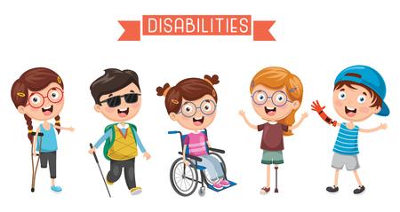 Illustration pour Vector Illustration Of kids Disabilities. - image libre de droit