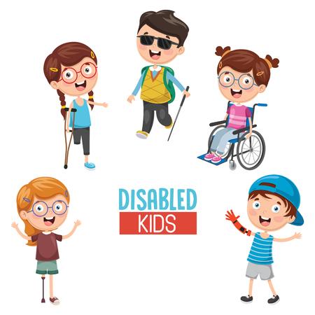 Illustrazione per Vector Illustration Of kids Disabilities. - Immagini Royalty Free