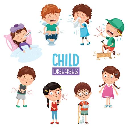 Illustrazione per Vector Illustration Of Child Diseases - Immagini Royalty Free
