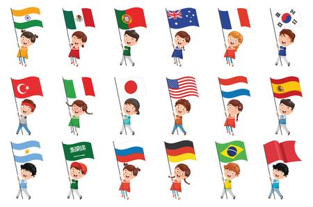 Illustration pour Vector Illustration Of Kids Holding Flags - image libre de droit