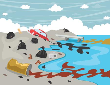 Ilustración de Vector Illustration Of Water Pollution - Imagen libre de derechos