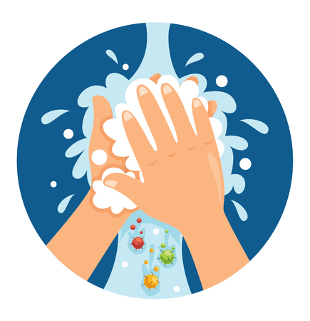 Illustration pour Vector Illustration Of Washing Hands - image libre de droit
