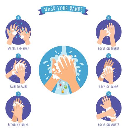 Illustration pour Vector Illustration Of Washing Hands - image libre de droit