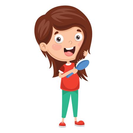 Illustrazione per Vector Illustration Of Kid Brushing Hair - Immagini Royalty Free
