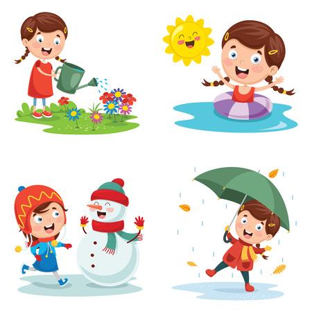Illustration pour Vector Illustration Of Seasons - image libre de droit