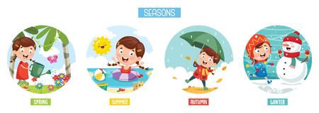 Ilustración de Vector Illustration Of Seasons - Imagen libre de derechos