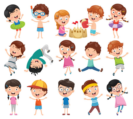 Ilustración de Vector Illustration Of Cartoon Children - Imagen libre de derechos