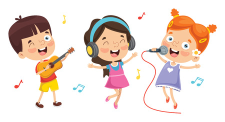 Illustrazione per Vector Illustration Of Kids Playing Music - Immagini Royalty Free