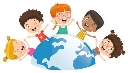 Illustration pour Vector Illustration Of Kids Playing Around The World - image libre de droit