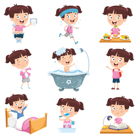 Illustration for Cartoon Girl Doing Various Activities - Royalty Free Image