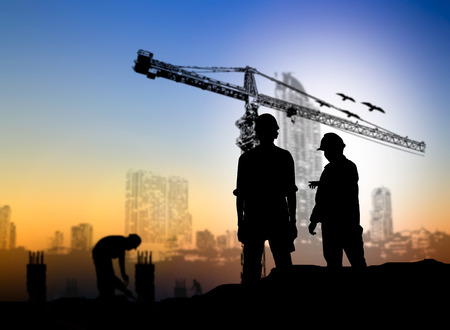 Photo pour silhouette engineer construction site over Blurred construction worker on construction site - image libre de droit