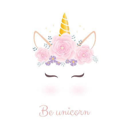 Illustration pour Cute unicorn head with flower crown. - image libre de droit