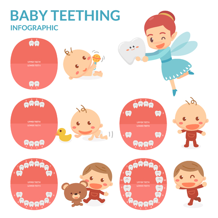 Foto für Baby Teething. Tooth Fairy. Period of eruption and shedding of baby's teeth. Grown up. - Lizenzfreies Bild