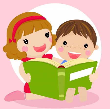 Vector illustration of kids reading a book