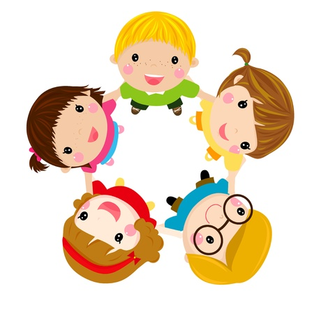 Illustration pour Children holding hands - image libre de droit