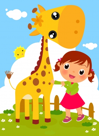 Illustration pour Cute little girl and giraffe - image libre de droit