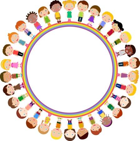 Illustration pour kids and rainbow - image libre de droit