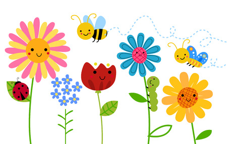 Illustrazione per Flowers and insects - Immagini Royalty Free