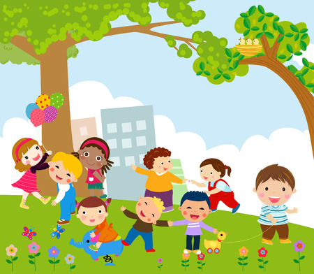 Illustration pour Kids playing - image libre de droit