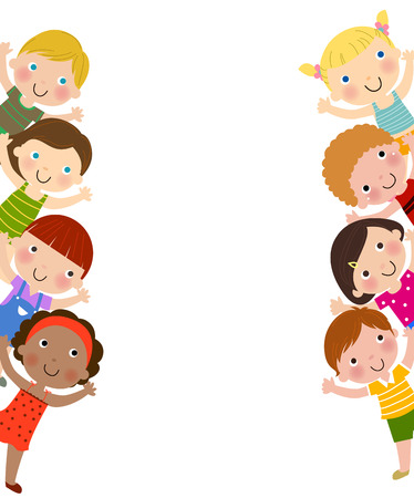 Ilustración de Kids and white background - Imagen libre de derechos