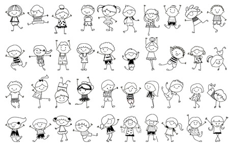 Illustrazione per drawing sketch - Group of kids - Immagini Royalty Free