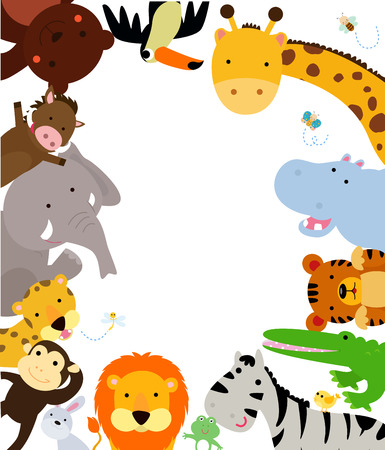 Illustration pour Fun Jungle Animals Border - image libre de droit