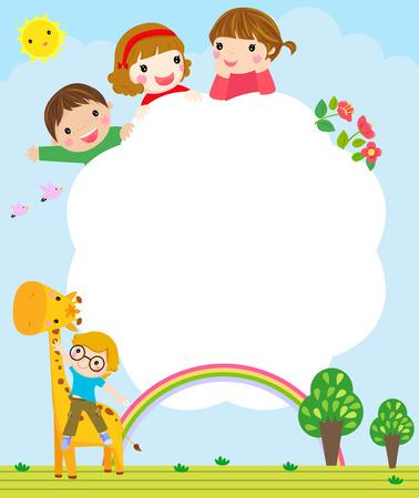 Ilustración de Kids and frame - Imagen libre de derechos