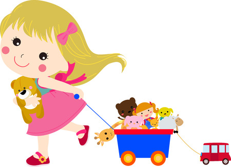 Illustration pour Cute little girl and her toys - image libre de droit