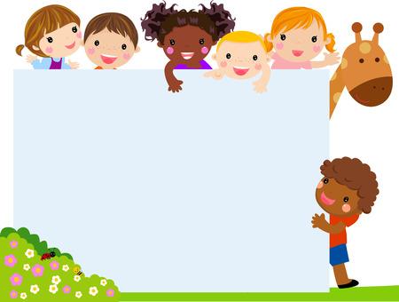 Ilustración de Color frame with group of kids and giraffe, background. - Imagen libre de derechos