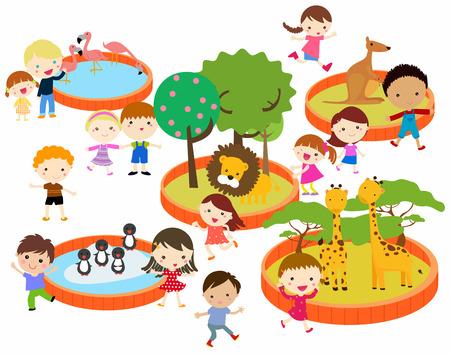 Illustration pour illustration of kids to the zoo - image libre de droit