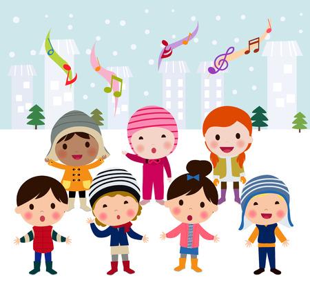 Illustration pour Group of multinational kids singing Christmas Carols, cartoon character illustration - image libre de droit