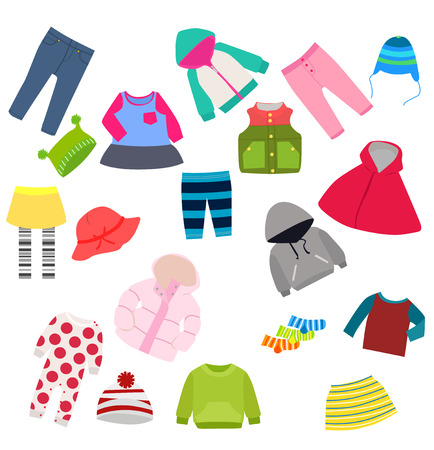 Illustrazione per set of children\'s clothes - Immagini Royalty Free