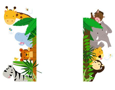 Illustration pour Fun Jungle Animals Border - image libre de droit