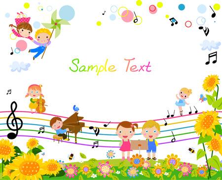 Illustration pour happy kids with music - image libre de droit