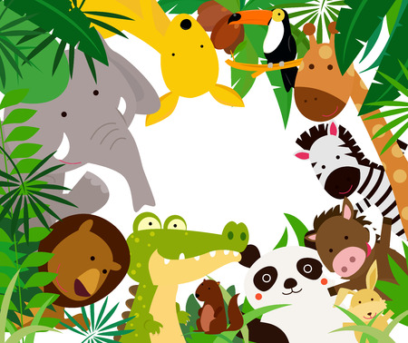Photo pour Fun Jungle Animals Border - image libre de droit