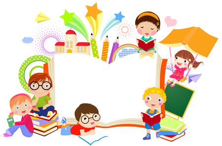 Illustration pour Kids and book frame - image libre de droit