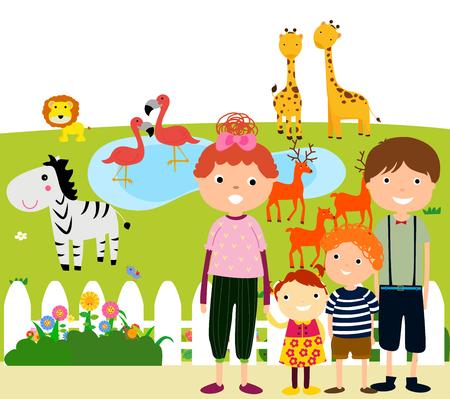 Illustration pour Happy Family Visiting Zoo - image libre de droit