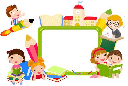 Photo pour Kids and book frame - image libre de droit