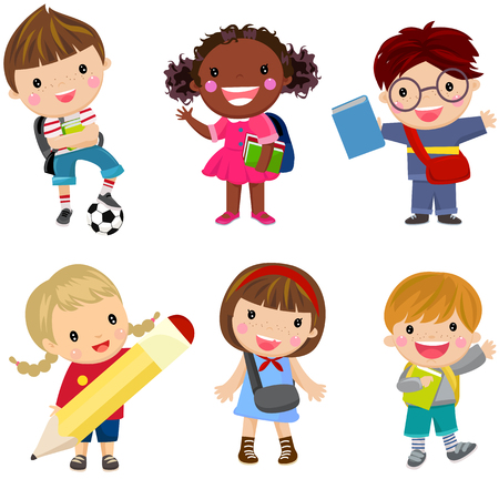 Illustration for pupils boys and girls - Royalty Free Image