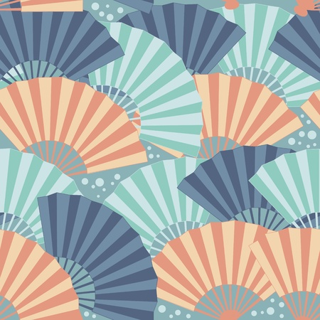 Cute japanese fan colorful seamless pattern