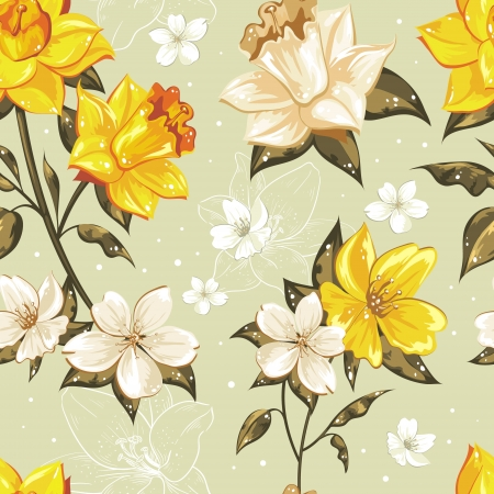 Photo pour Elegant stylish spring floral seamless pattern with dots and lineart - image libre de droit