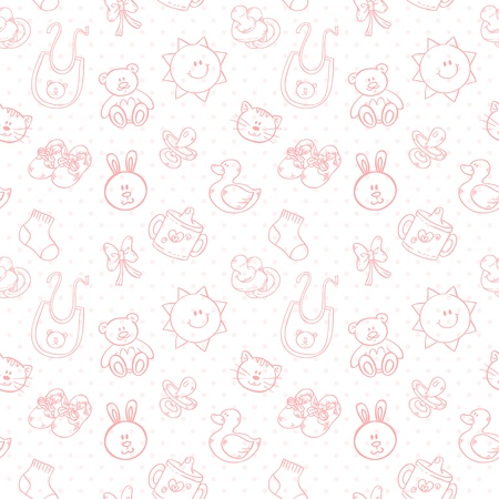 Illustration for Baby toys cute cartoon set on polka dot seamless pattern - Royalty Free Image