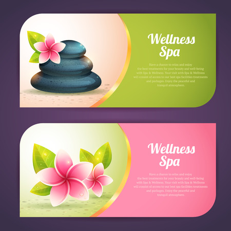Ilustración de Set of thematical spa cards with realistic wellness items, pebbles and exotic flowes isolated - Imagen libre de derechos