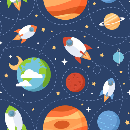 Illustration pour Seamless children cartoon space pattern with rockets planets stars and universe over the dark night sky background - image libre de droit