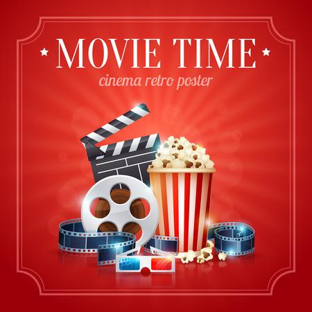 Ilustración de Realistic cinema movie poster template with film reel, clapper, popcorn, 3D glasses, with bokeh background - Imagen libre de derechos